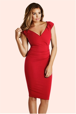 Jessica Wright Cassidy Red Bardot Bodycon Dress
