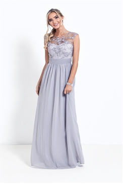 Sistaglam Beverley Petite Grey/silver Lace Bridesmaid Maxi Dress