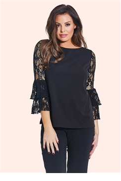 Jessica Wright Carmel Black Frill Sleeve Top