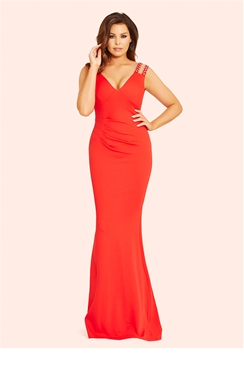 Jessica Wright Dannie Red Jewel Strapped Pleated Maxi Dress
