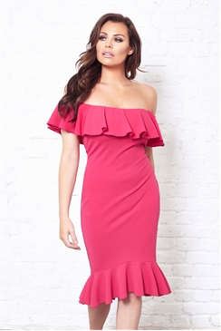 Jessica Wright Frankee Pink Off The Shoulder Frill Dress