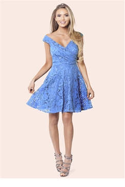 Sistaglam Martina Blue Lace Bardot Skater Dress