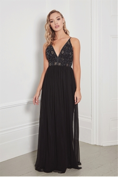 Sistaglam Ximena black plunge embellished bodice maxi dress