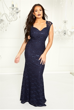 Sistaglam Loves Jessica Wright Analisa Navy Sequin Lace Maxi Dress