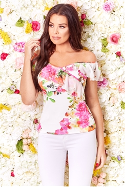 Jessica Wright Tippie multi floral frill bardot top