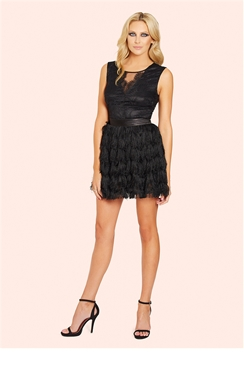 Sistaglam Coco Black Lace Top Fringed Skirt Mini Dress