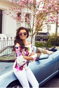 Jessica Wright Flissy White Floral Off The Shoulder Top