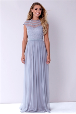Sistaglam Saffron Grey Beaded Maxi Dress