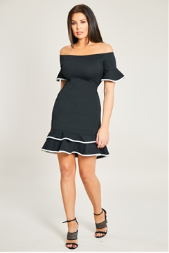 Jessica Wright Frances Black Bardot Frill Short Bell Sleeve Tiered Hem Dress