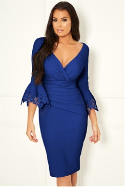 Sistaglam Loves Jessica Wright Trixey cobalt midi bodycon trim sleeve dress