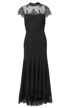 Sistaglam Loves Jessica Wright Gizelle black eyelash panel dress with frill lace hem fishtail skirt