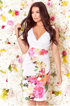 Sistaglam Loves Jessica Wright Penellope multi floral wrap v neck midi bodycon dress
