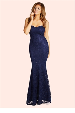 Jessica Wright Michelle Navy Sequin Lace Bandeau Maxi Dress