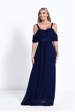Sistaglam Navy Belinda Cold Shoulder Maxi Dress