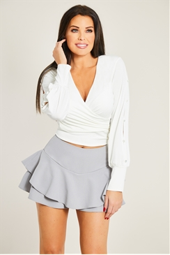 Jessica Wright Mae Cream Wrap Around Stretch Top With Blouson Button Detail Sleeve