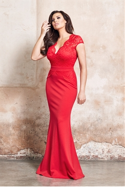 Jessica Wright Carly Red Lace Slim Fitting V-Neck Maxi Dress