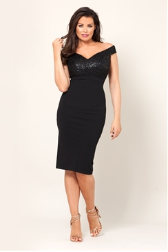 Jessica Wright Raquel VIP Black Sequin Bust Bodycon Midi Dress