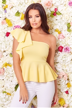 Jessica Wright Gweny yellow one shoulder frill top