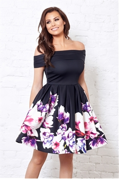 Jessica Wright Gracia Multicolour Floral Off The Shoulder Prom Dress