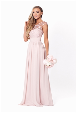 Sistaglam Beverley Petite Rose Pink/Nude Lace Bridesmaid Maxi Dress