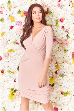 Jessica Wright Melinda pink wrap bodycon 3/4 sleeve side ruching