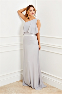 Sistaglam Bianca grey one shoulder ruffle with frill hem maxi dress