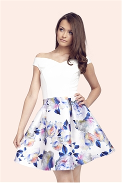 Sistaglam Kasia Floral Sateen Prom Dress With Plain Bardot Top