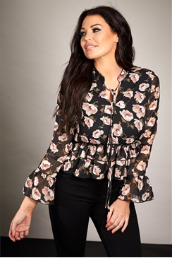 Sistaglam Loves Jessica Wright Ritz floral print chiffon blouse  with frill Peplum and frill sleeve