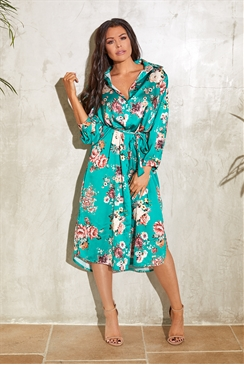 Sistaglam Loves Jessica Wright Lissie multi satin floral print shirt dress with tie