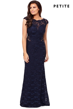 Petite Jessica Wright Eliora Navy Lace Maxi Dress
