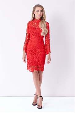 Sistaglam Jamilla Red Lace High Neck Long Sleeve Bodycon Dress