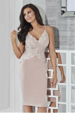 Jessica Wright Santana Nude Lace Sweetheart Neckline Spaghetti Strap Bodycon Dress