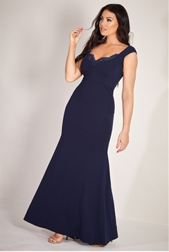 Sistaglam Loves Jessica Wright Miran navy stretch bodycon maxi dress with lace insert detail