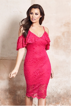 Jessica Wright Saydee Pink Lace Cold Shoulder Bodycon Dress