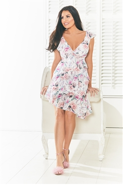 Sistaglam Loves Jessica Wright Aprill multi v neck frills asymetrical hem printed dress