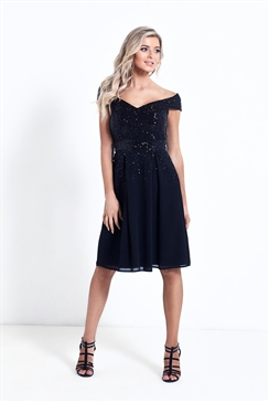 Sistaglam Vivian Black Sequin Bardot Skater Dress