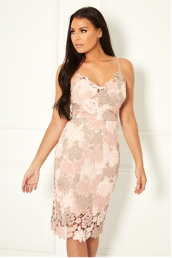 Sistaglam Loves Jessica Wright Lacie pink multi colour lace crochet strappy bodycon dress