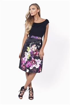Sistaglam Amia Bardot Floral Print Dress With Black Jersey Top