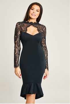 Jessica Wright Calancia Black Lace Sweet Heart Key Hole Bodycon Dress