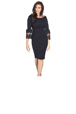 Jessica Wright Rae Lace Trim Bell Sleeve Bodycon Dress