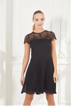 Sistaglam Talitha black lace bodice short sleeve skater dress