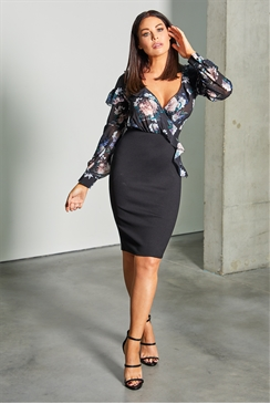 Sistaglam Loves Jessica Wright Aviani black multi 2 in 1 floral bodycon dress