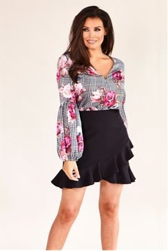 Jessica Wright Delane Multicolour Floral and Check Print Blouse With Balloon Sleeves