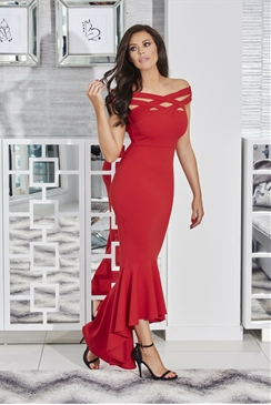 Jessica Wright Giovanna Red Cross Front Maxi Dress With Dipped Frill Hem