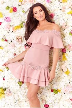 Sistaglam Loves Jessica Wright Lua pink bardot frill with trim tiered hem dress