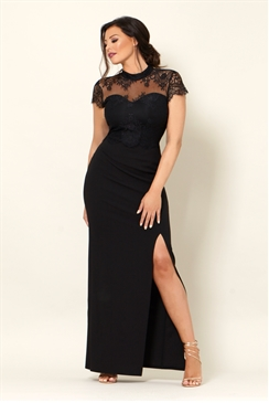 Jessica Wright Amie Lace High Neck Sweetheart Neckline Black Bodycon Maxi Dress