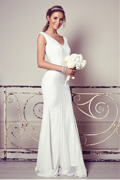 Sistaglam Destiny White Sequin Slim Fit Wedding Dress