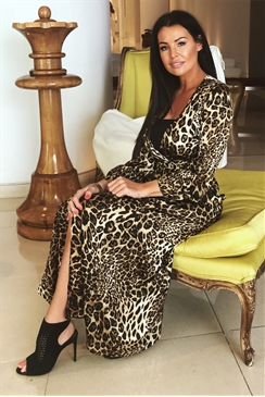 Sistaglam Loves Jessica Wright Kris brown multi animal print long sleeve satin wrap maxi dress