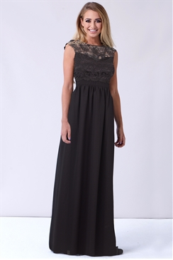 Sistaglam Jakey Black Lace and Chiffon Maxi Dress
