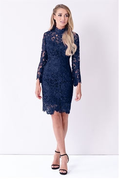 Sistaglam Jamilla Navy Lace High Neck Long Sleeve Bodycon Dress.